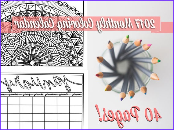 coloring calendar monthly planner 2017