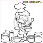 Coloring Utensils Beautiful Collection Boy Cooking Coloring Page Stock Vector Image