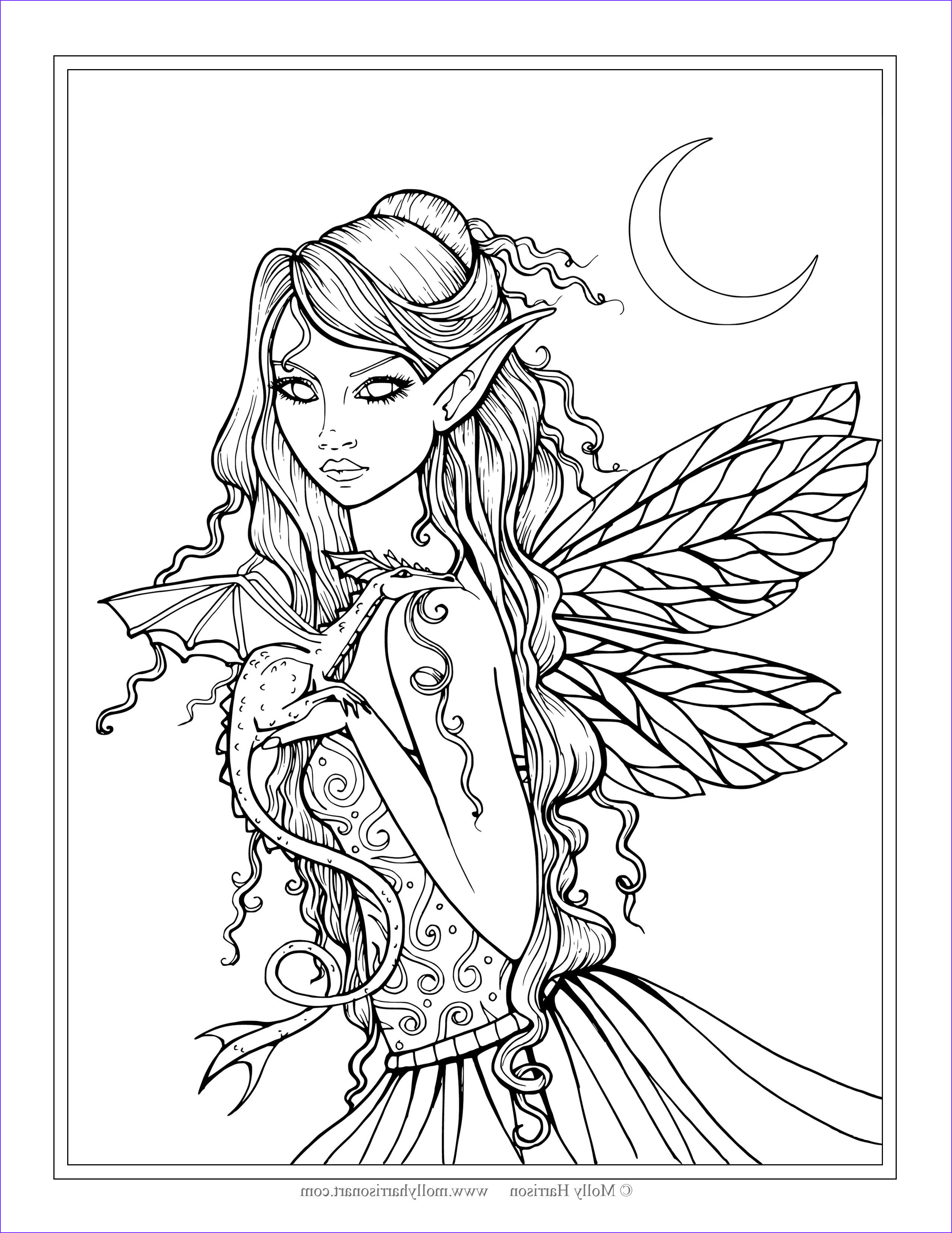 Fantasy Coloring Books Inspirational Gallery Free Fairy and Dragon Coloring Page by Molly Harrison
