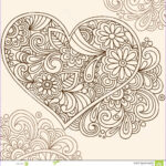 Henna Coloring Awesome Image Doodle Henna Heart Vector Stock Vector Illustration Of
