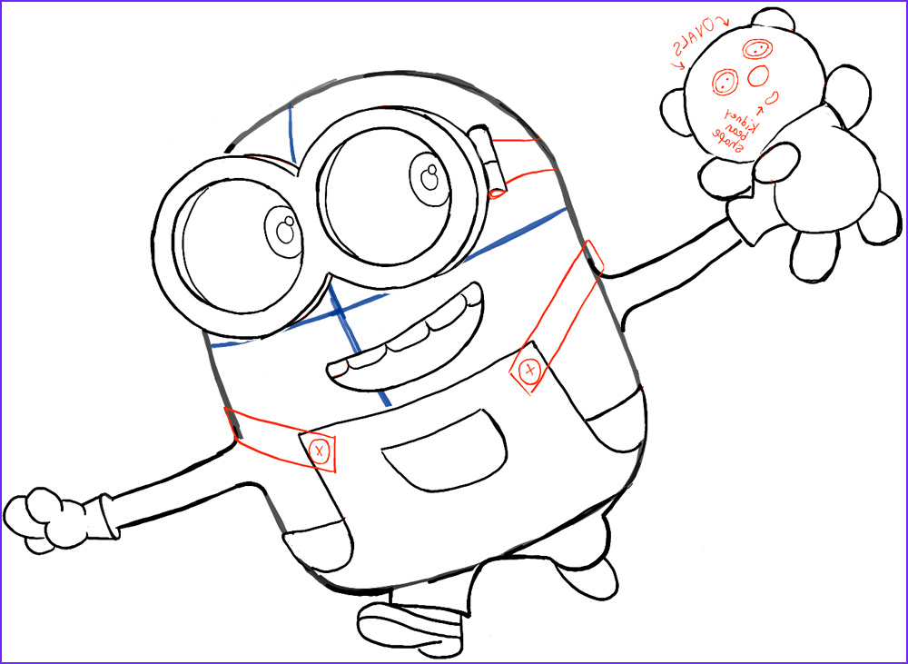 how to draw bob the minion with a teddy bear from the minions movie 2015