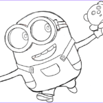 Minion Coloring Pages Bob Cool Photos Finished Black And White Drawing Of Bob With His Teddy