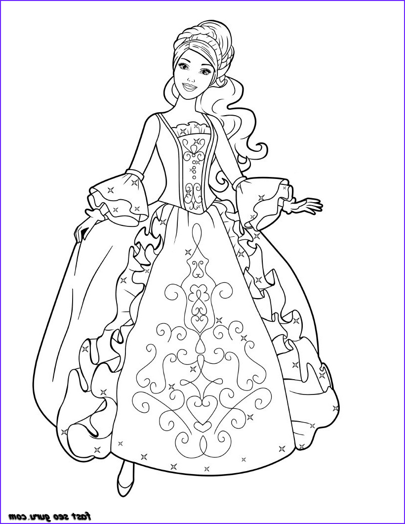 Princess Coloring Pages to Print Unique Gallery Printable Barbie Princess Dress Book Coloring Pages