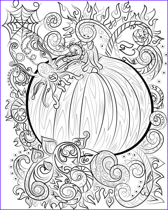 Pumpkin Coloring Pages for Adults Inspirational Photos Halloween Pumpkin and Spider Adult Colouring Page Instant