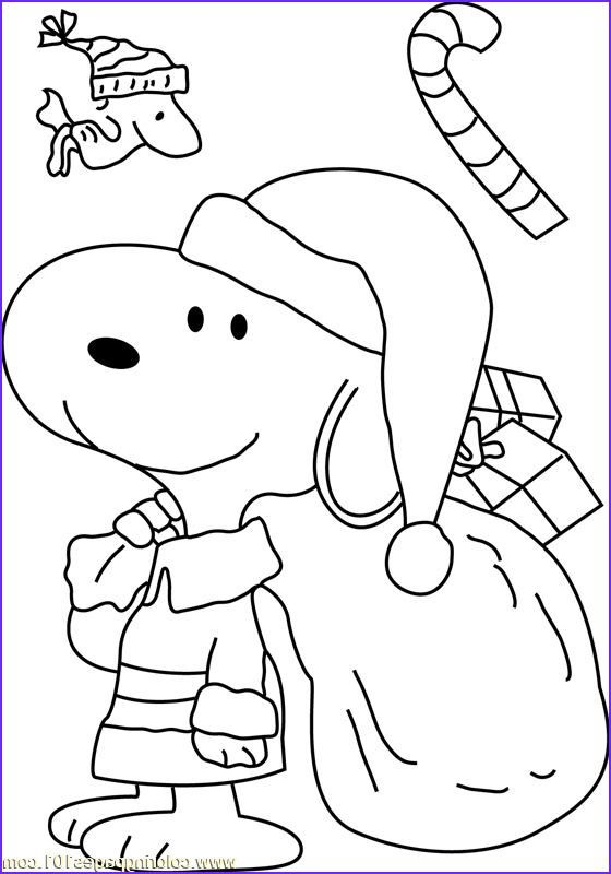 snoopy dressed as santa coloring page