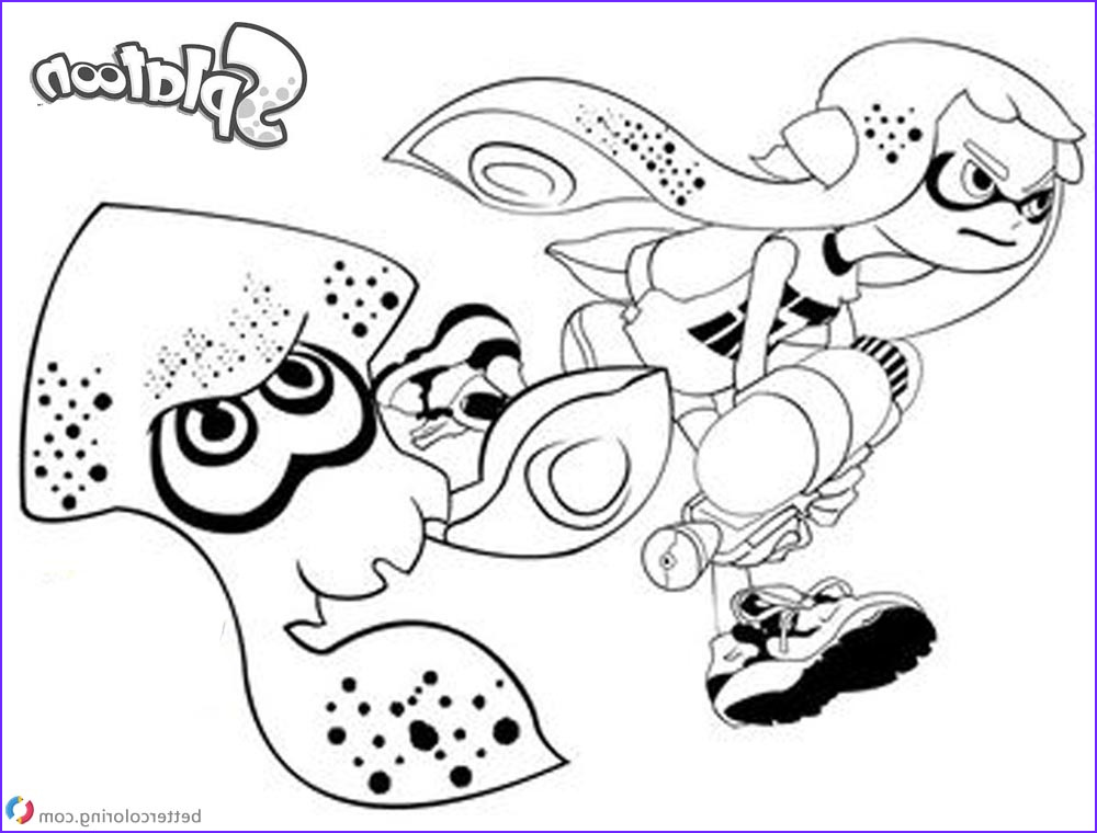 splatoon coloring pages inkling girl and squid running
