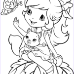 Strawberry Shortcake Coloring Pages Beautiful Collection Strawberry Shortcake With Custard And Butterfly Coloring