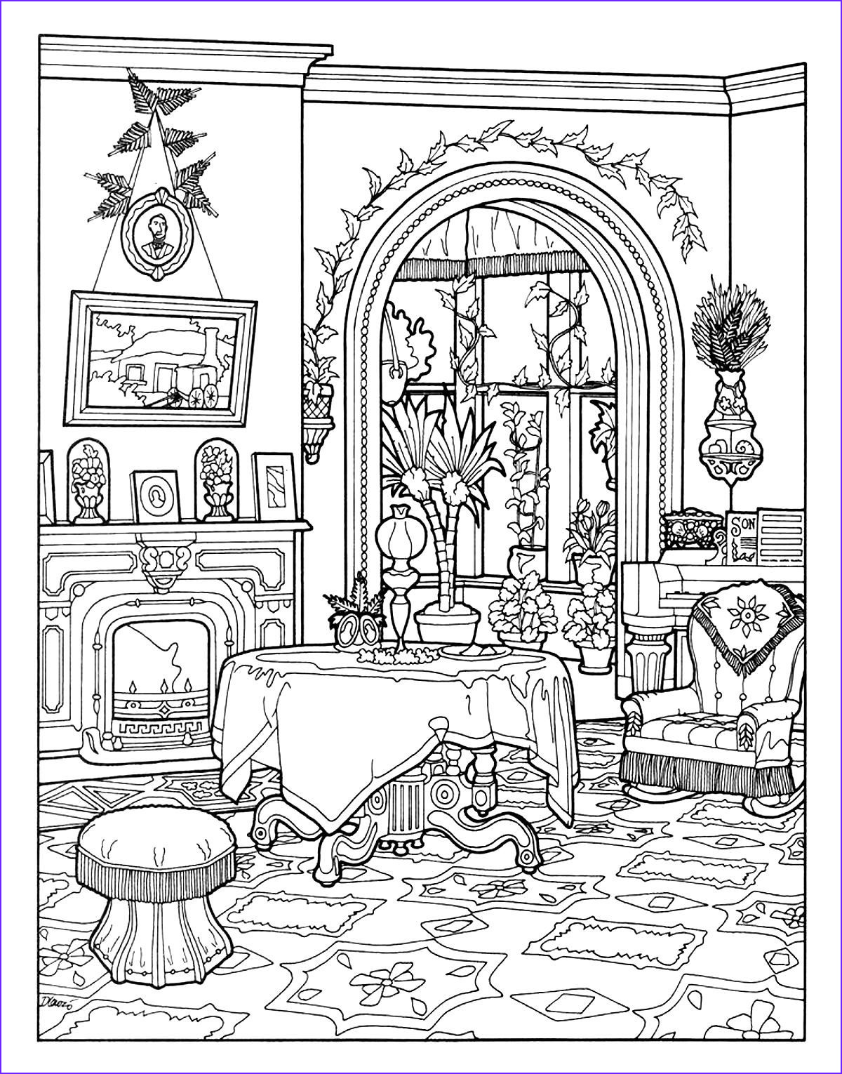 Free coloring page coloring victorian interior style