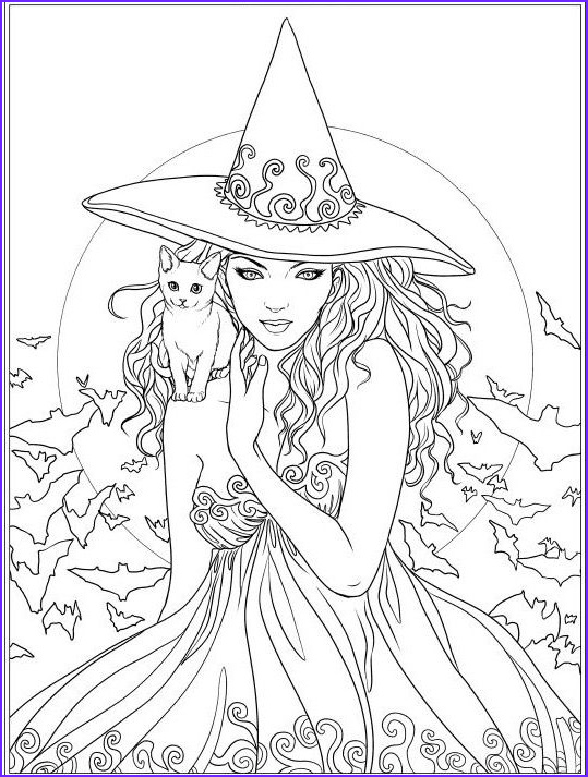 Witch Coloring Pages Beautiful Photography Witch and Cat Coloring Page