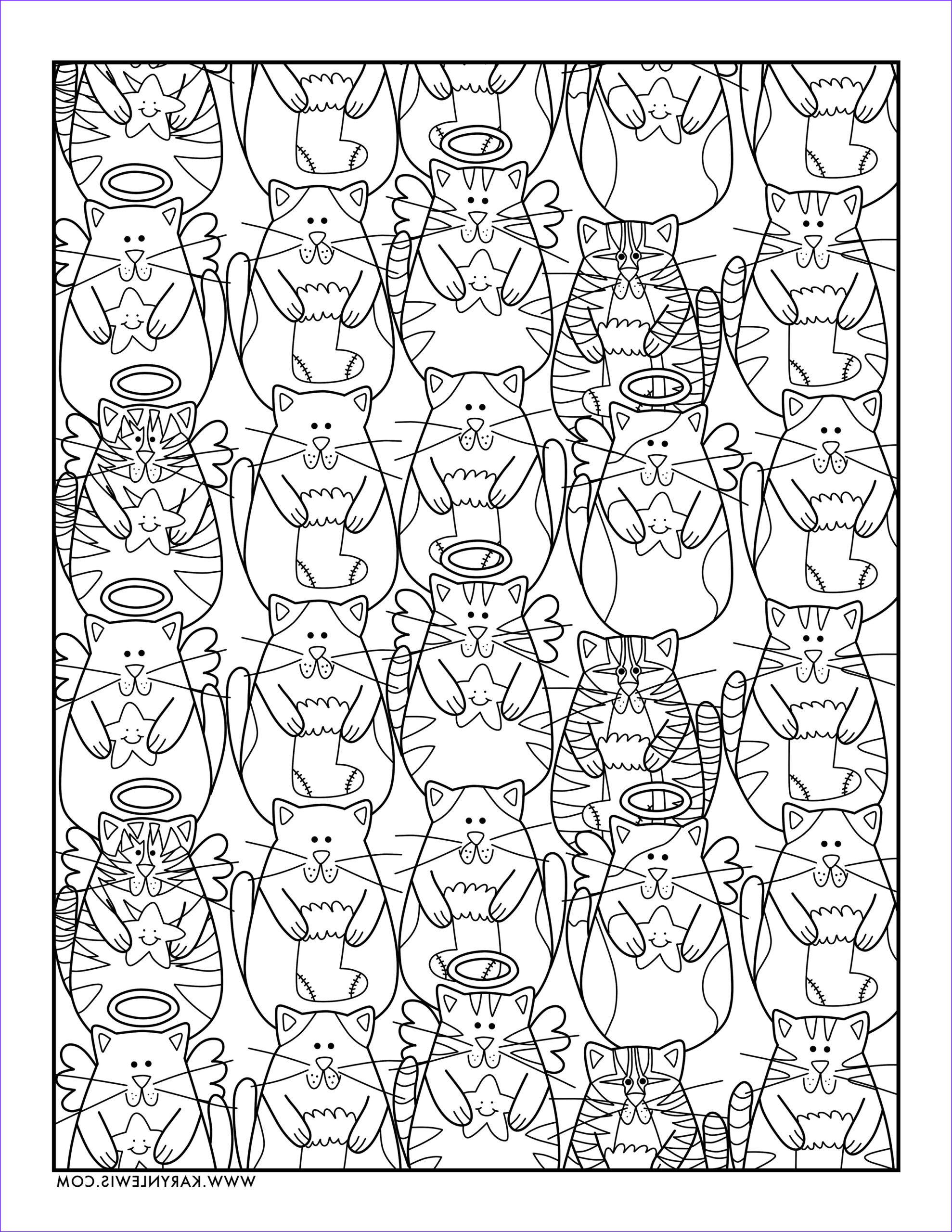 christmas cats free adult coloring page