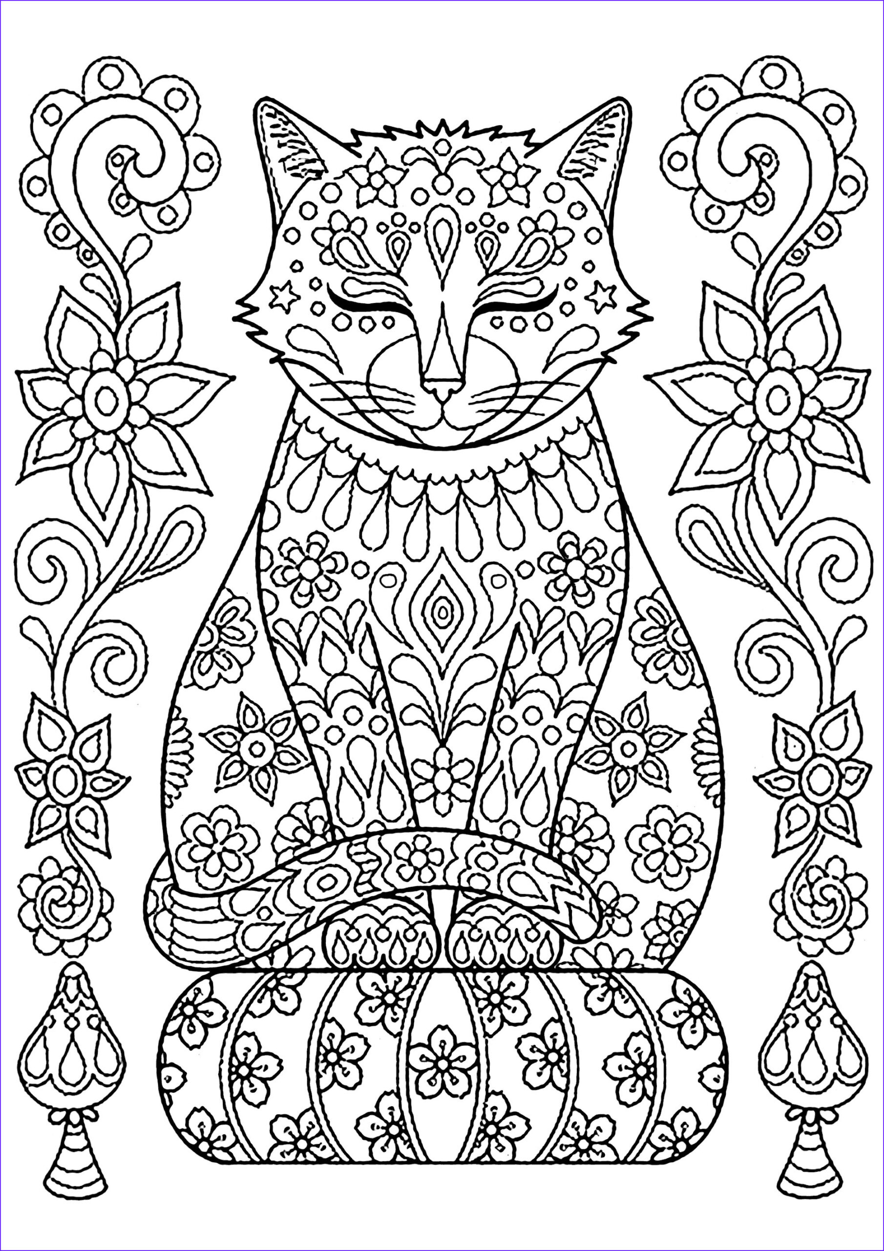Adult Cat Coloring Pages Beautiful Photos Cute Cat On Pillow with Flowers Cats Adult Coloring Pages
