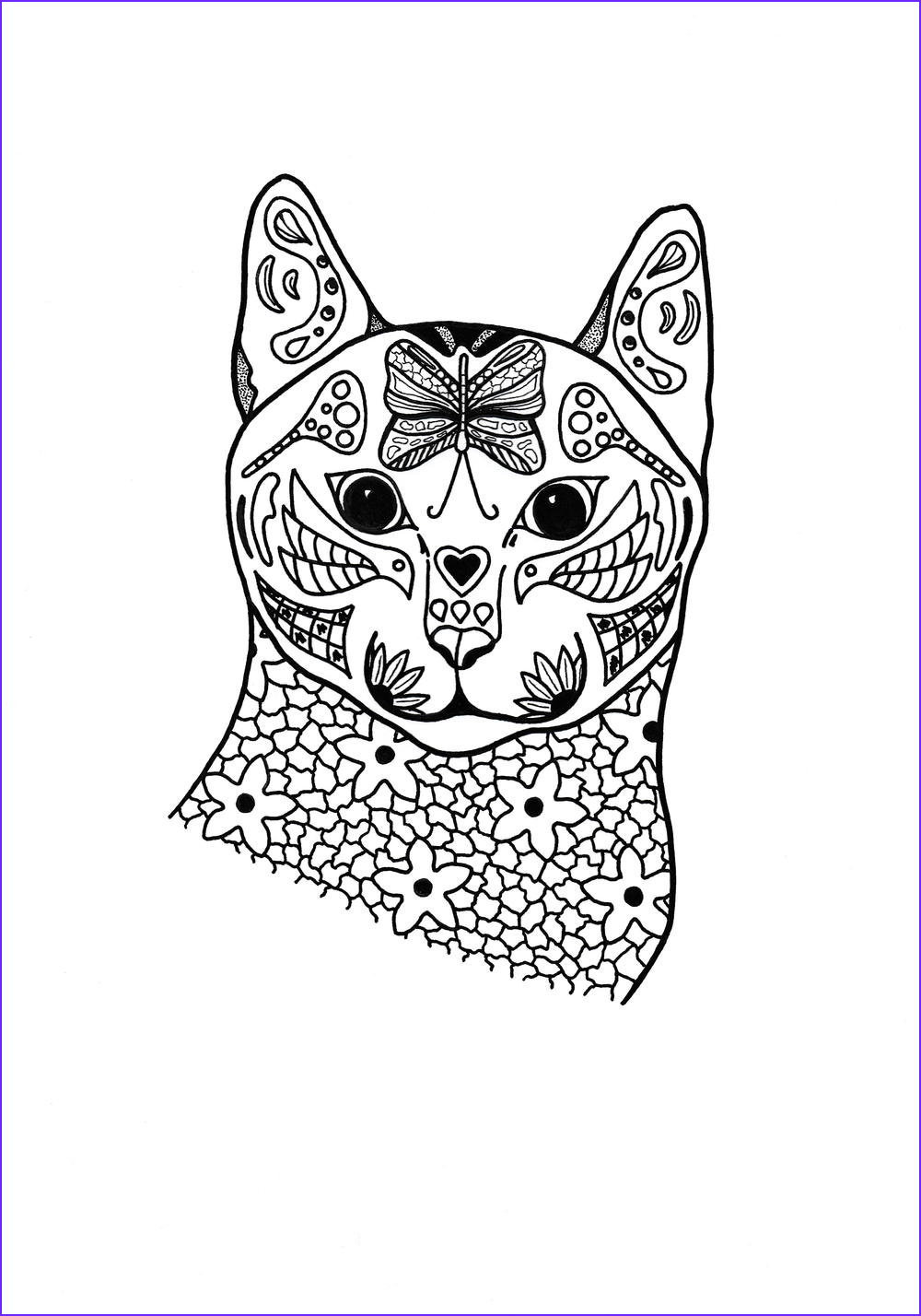 Adult Cat Coloring Pages Elegant Stock Springtime Cat Coloring Page