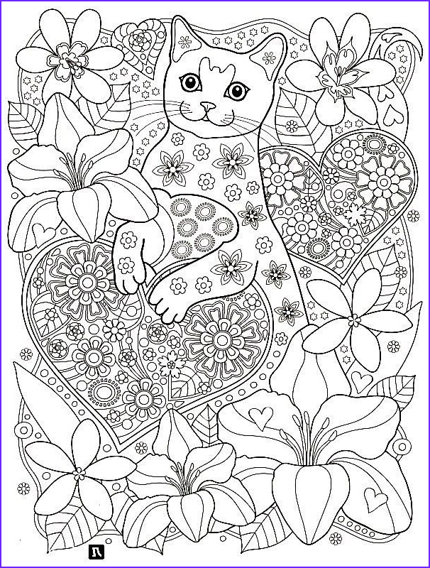Adult Cat Coloring Pages Luxury Photos Cats and Hearts Colouring Page