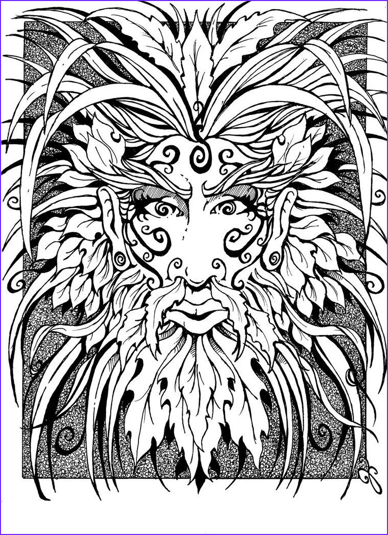 """Adult Coloring Book for Men Luxury Gallery Icolor """"green Man Faces"""""""