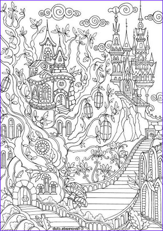 Adult Coloring Book Pages Fantasy Awesome Photography Fantasy City Printable Adult Coloring Page From