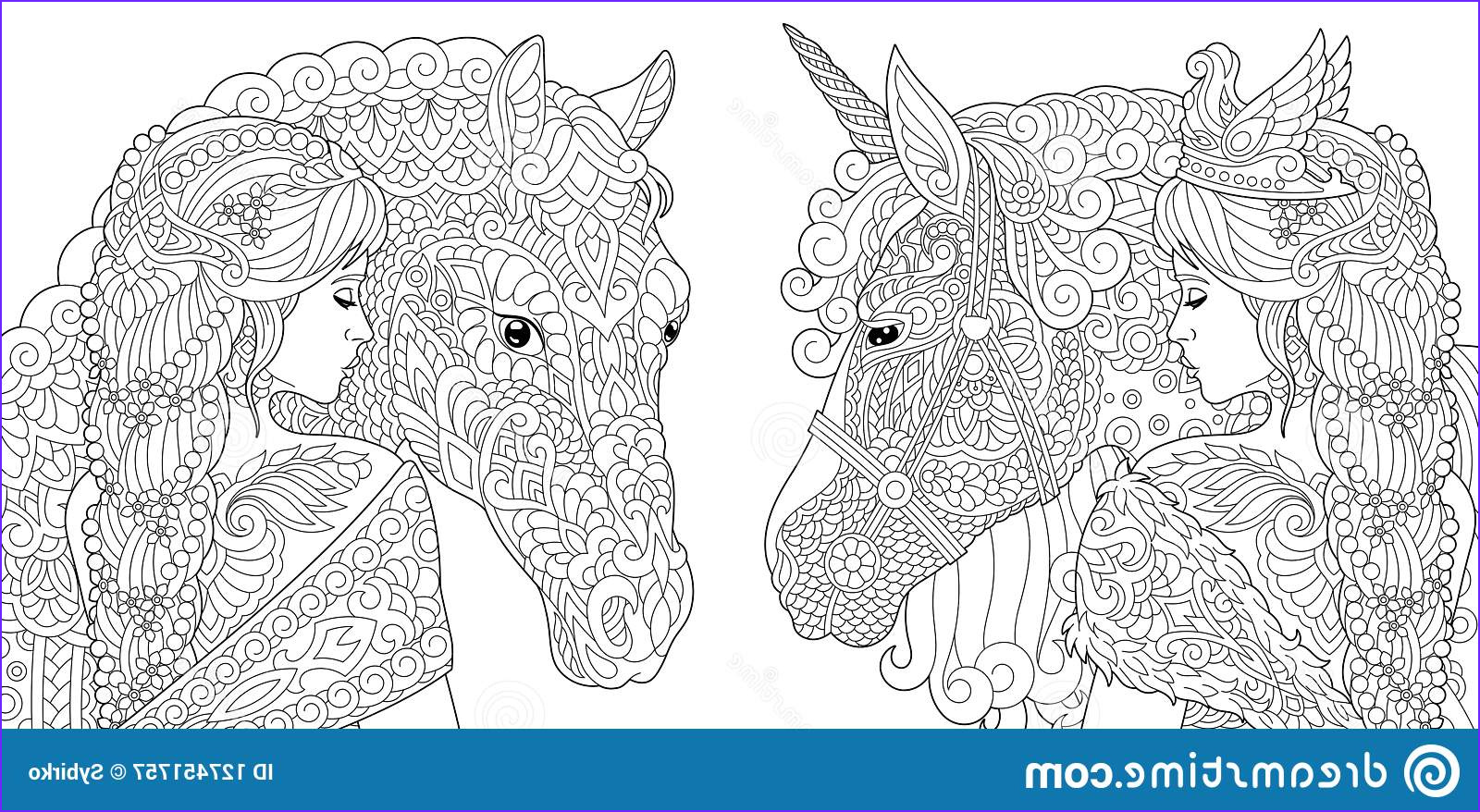 fantasy coloring pages book adults colouring pictures girl unicorn horse drawn zentangle style vector illustration image