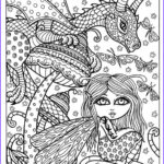 Adult Coloring Book Pages Fantasy Beautiful Photos Fairy And Dragon Instant Adult Coloring Fantasy Art