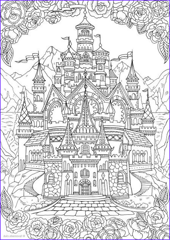 castle printable adult coloring page
