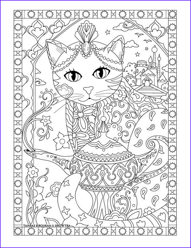 """Adult Coloring Books Cats Best Of Images Marjorie Sarnat S Pampered Pets """"aladdin Cat"""""""
