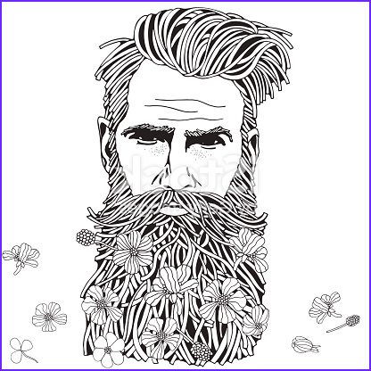 bearded hipster man coloring book page for adult gm
