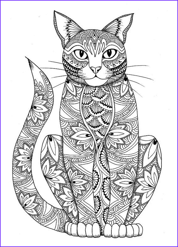 Adult Coloring Cat Elegant Collection Cat Coloring Page by Miedzykreskami On Etsy