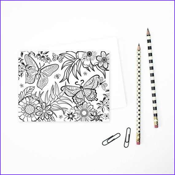 adult coloring greeting cards floral