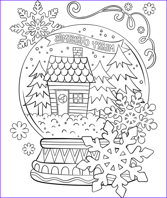 merry christmas snow globe coloring page