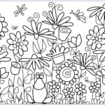 Adult Coloring Flowers Cool Stock Various Flowers With A Cute Frog Flowers Adult Coloring