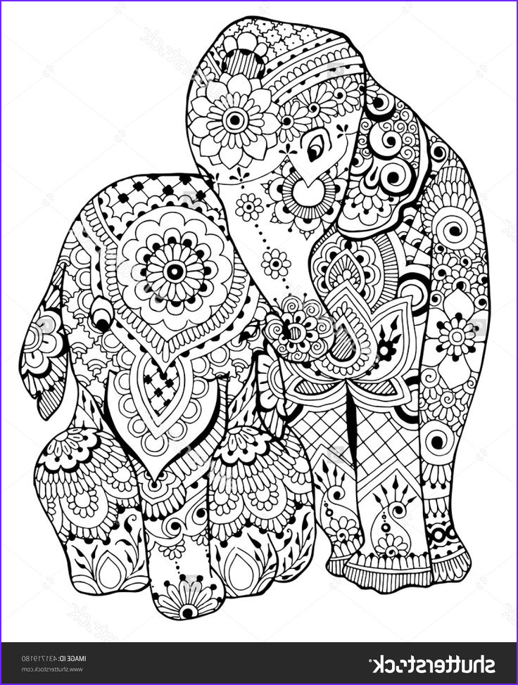 Adult Coloring Images Luxury Stock Elephants Coloring Page I Shutterstock
