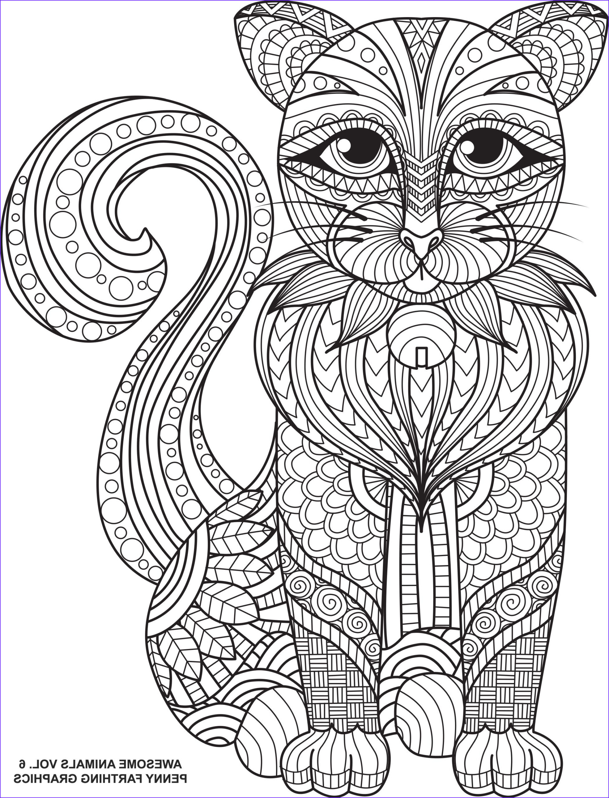 """Adult Coloring Pages Cat Luxury Image Cat From """"awesome Animals Volume 6"""""""