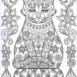 Adult Coloring Pages Cats Cool Photos Cute Cat On Pillow With Flowers Cats Adult Coloring Pages