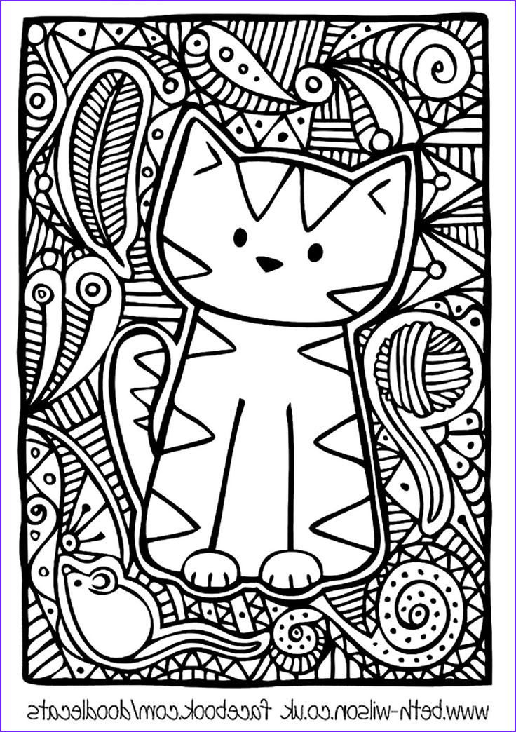 Adult Coloring Pages Easy Beautiful Photos Free Coloring Page Coloring Adult Difficult Cute Cat