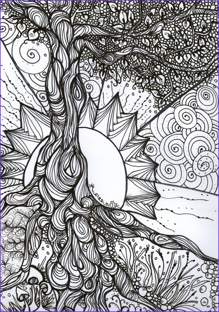 """Adult Coloring Pages Patterns Best Of Collection """"tree Of Life"""" Pen and Ink Adult Colouring Book Series"""