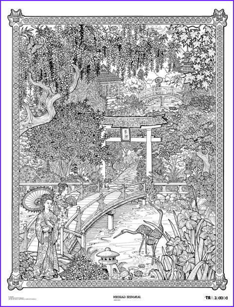 Adult Coloring Posters Cool Images Japanese Garden Doodle Doodle Art Poster