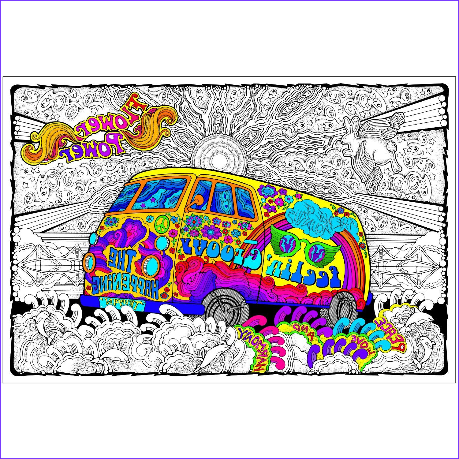 Adult Coloring Posters Elegant Image Love Bus Giant 22 X 32 5 Inch Line Art Coloring Poster
