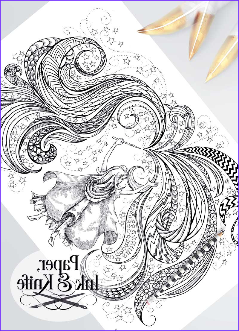 magic girl printable poster sized adult coloring page
