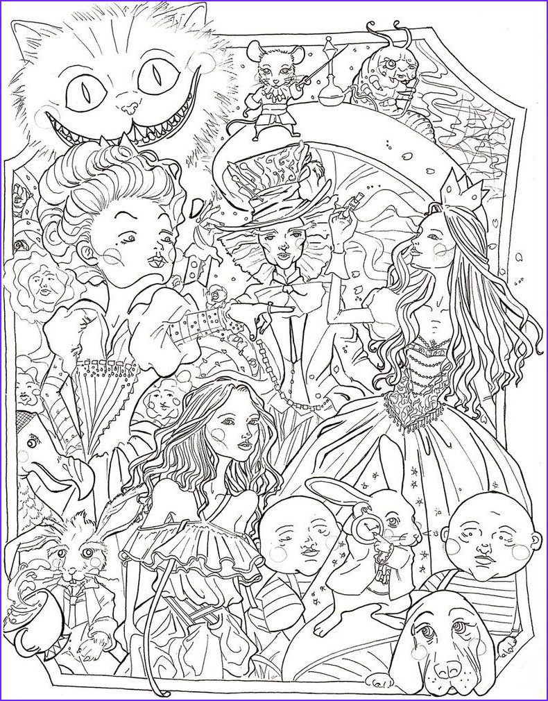Adult Disney Coloring Books Beautiful Photos Alice In Wonderland by Sidoans