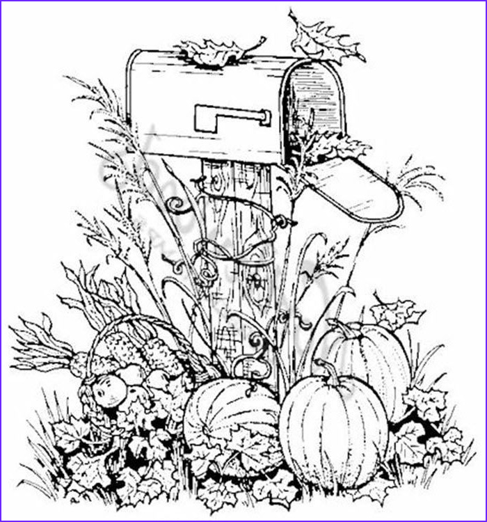 Adult Fall Coloring Pages Cool Photos northwoods Rubber Stamp Harvest Mailbox Pumpkins Fall