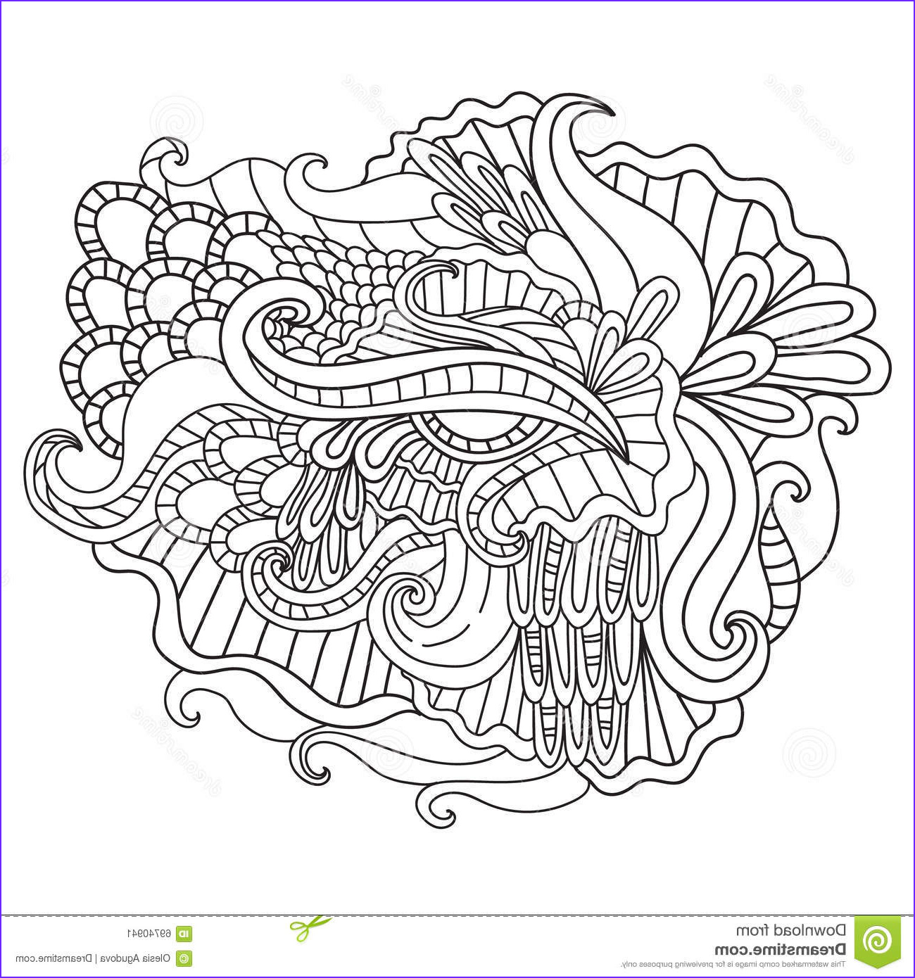 stock illustration coloring pages adults decorative hand drawn doodle nature ornamental curl vector sketchy pattern book image