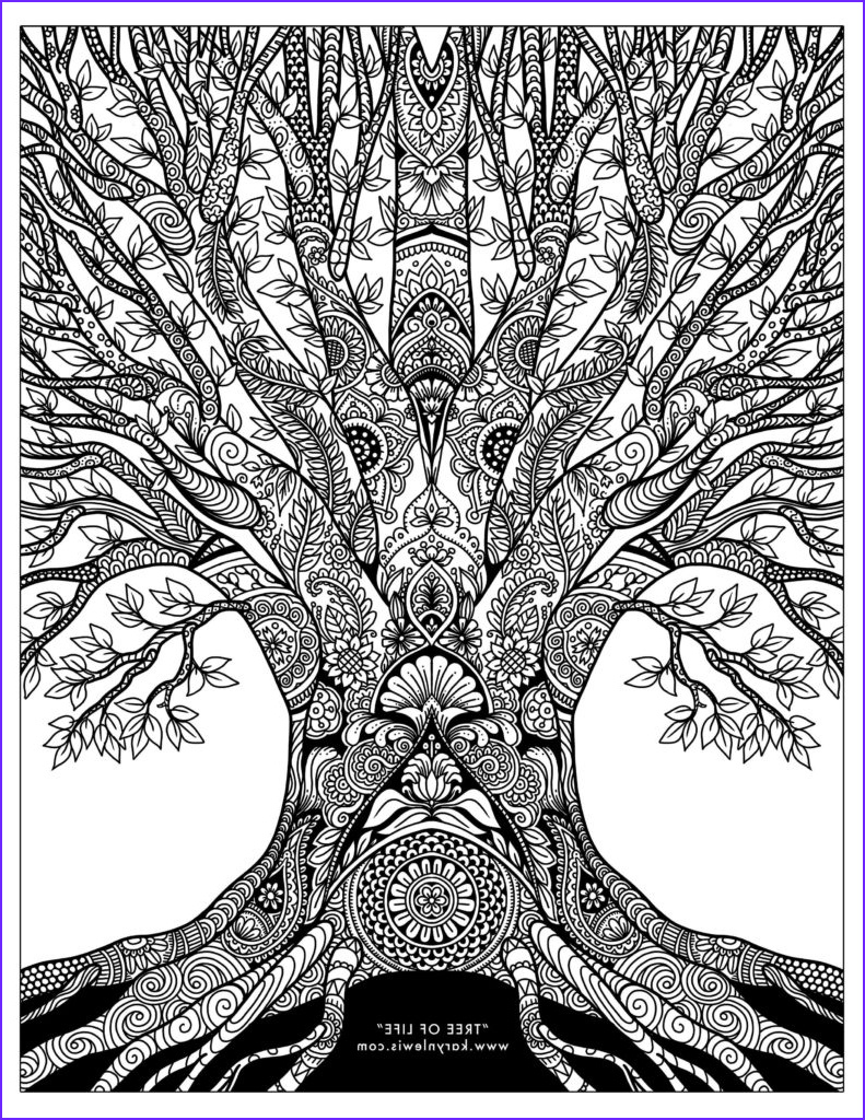 tree life doodle art free adult coloring page