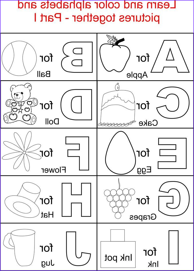 Alphabet Coloring Sheets Beautiful Images Alphabet Part I Coloring Printable Page for Kids