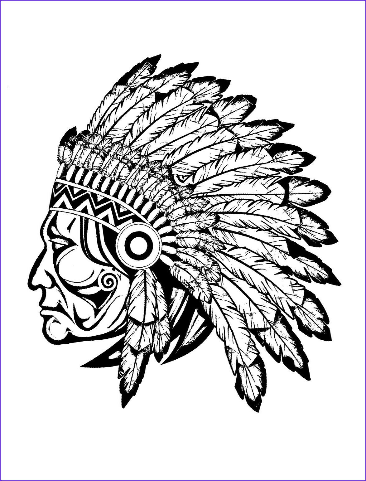 American Indian Coloring Pages Elegant Collection Indian Native Chief Profile Native American Adult