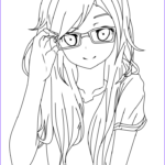 Anime Coloring Cool Collection Girl With Glasses Lineart By Salamandershadowviantart