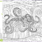 Art Therapy Coloring Book Luxury Photography Octopus With High Details Stock Vector Image