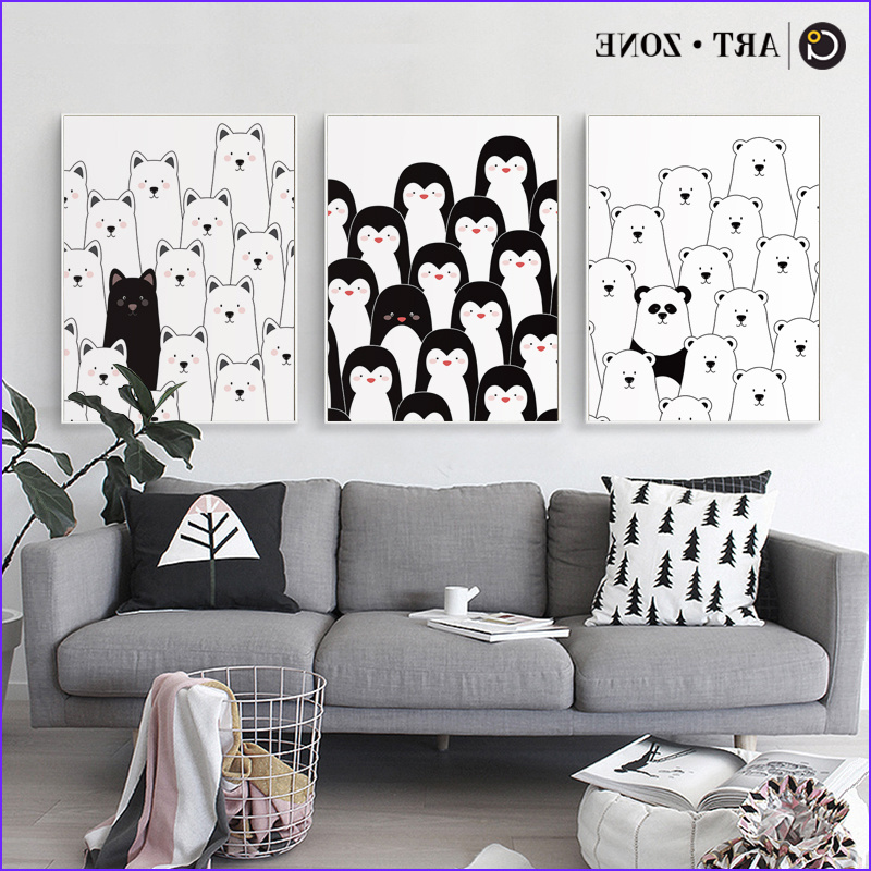 Artzone Coloring Poster Beautiful Photos Art Zone Penguin Panda Canvas Painting Black White Animals