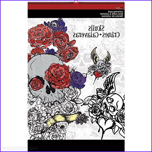 "Artzone Coloring Poster Inspirational Collection Artzone Trends International Skulls Coloring 11""x17"