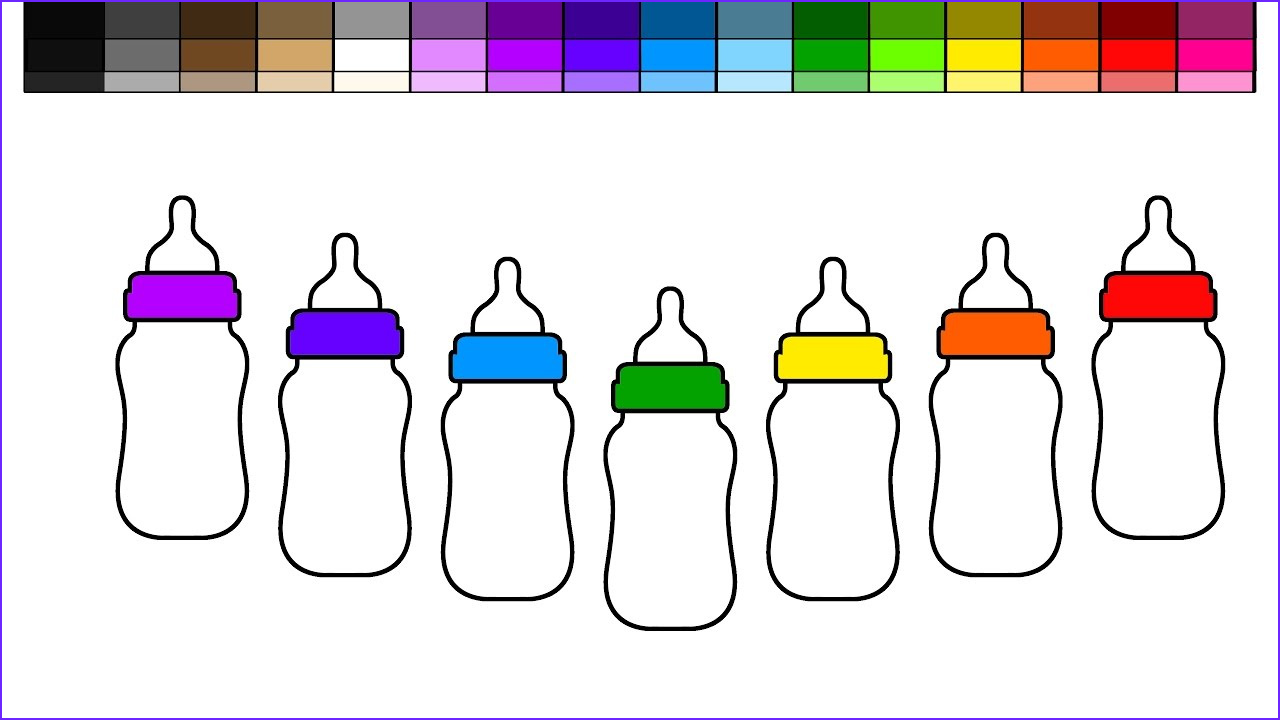 Baby Bottle Coloring Page Cool Stock Learn Colors for Kids and Color Rainbow Baby Bottles