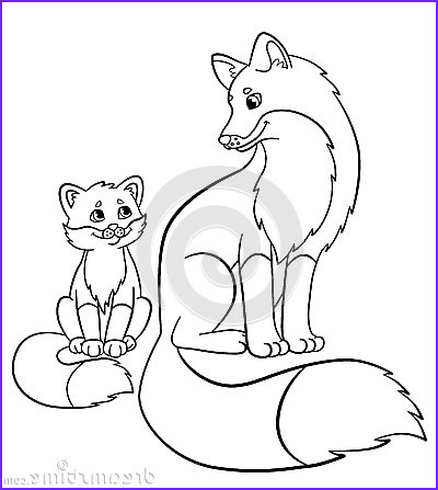 stock illustration coloring pages wild animals mother fox her little cute baby sits image