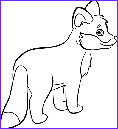 coloring pages wild animals little cute baby fox smiles gm