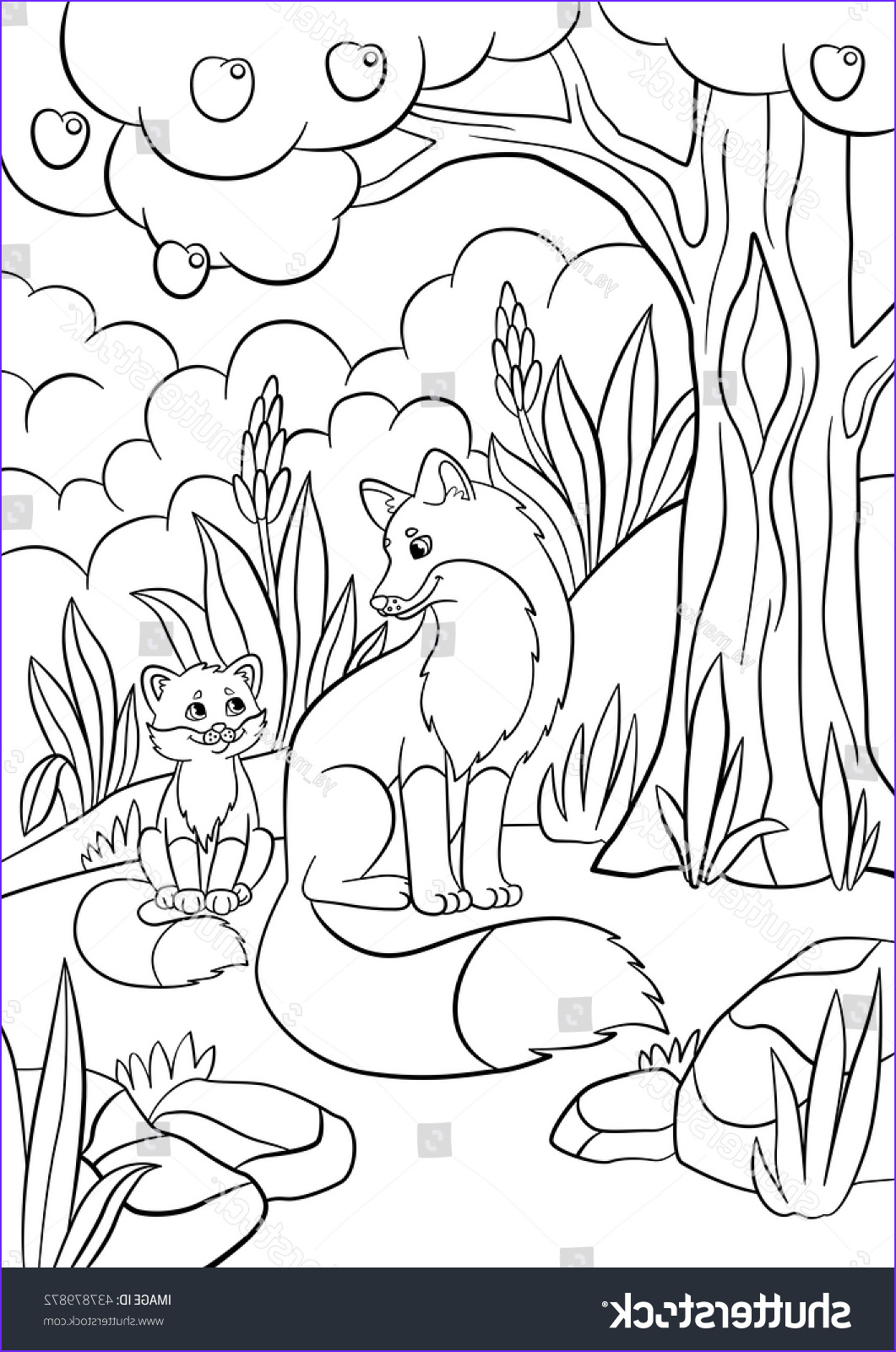 stock vector coloring pages wild animals mother fox with her little cute baby fox in the forest